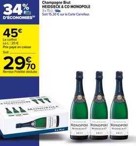 Lot de 3 Bouteilles de Champagne Brut Heidsieck & Co Monopole - 3x75cl (Via 15.30€ sur la Carte Fidélité)