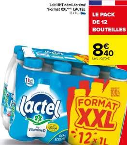 Pack de 12 bouteilles de lait UHT demi-écrémé Lactel (12 x 1L)