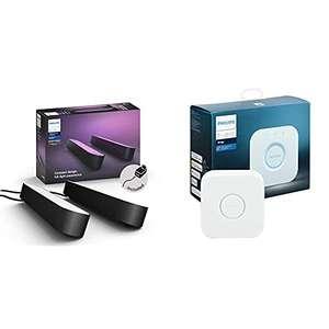 Pack de 2 Lampes connectées Philips Hue White & Color Ambiance Play, Noir + Pont de connexion - Compatible Alexa