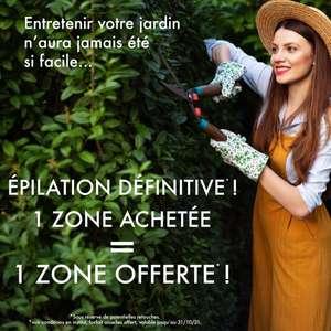 1 zone d'épilation définitive achetée = 1 forfait d'épilation définitive des aisselles offert - Epiloderm Studio Nantes (44)