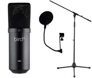 Pack microphone USB Bird UM1 + filtre anti-pop Woodbrass PF01 + pied de micro Woodbrass MIC50