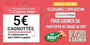 5€ cagnottés pour toute installation de l'Application mobile CasinoMax