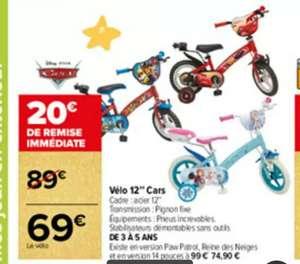 """Vélo pour enfant 12"""" Cars, La Pat'Patrouille & La Reine des Neiges (de 3 à 5 ans)"""