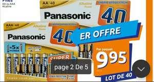 Lot de 40 piles alcalines AAA Panasonic Extra Value Pack