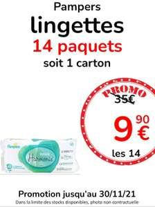 Carton de 14 paquets de lingettes Pampers Aqua Harmonie - Pharmacie Mivoix Calais (62)