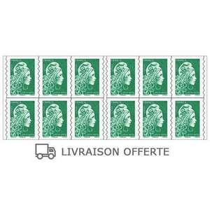 Livraison gratuite sur les carnets de 12 ou 20 timbres Marianne (vert ou rouge)