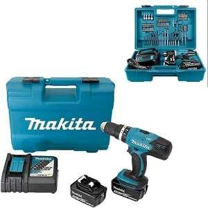 Perceuse à percussion Makita DHP453RFX4 18V + 2 batteries 3Ah + Chargeur rapide + Accessoires + Coffret