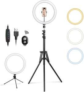 Anneau LED à Selfie Kebor avec Trépied & Télécommande bluetooth - 3 Modes d'éclairage & 10 Niveaux de luminosité (Vendeur tiers)