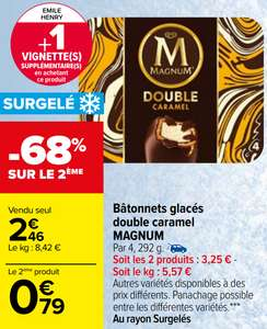 2 Boîtes de 4 Glaces Double Caramel Magnum - 2x292g (Via BDR)