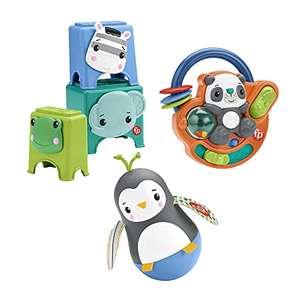 Coffret Fisher-Price Je Découvre mes Mains : 3 jouets d'éveil pour bébé et tout-petit, spécial motricité fine (6 mois et plus)