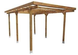 Carport bois - 3 x 5 m, 6 poteaux