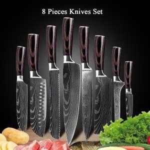 Lot de 8 couteaux de cuisine - Acier inoxydable 4CR13, Lames aspect damassé (Entrepôt Allemagne)