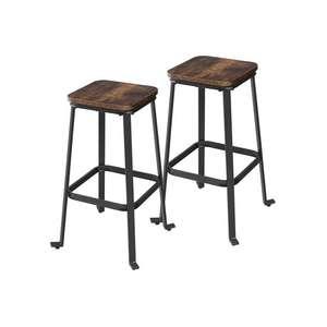 Lot de 2 tabourets de bar bois et métal - Noir/Marron rustique, 45 x 45 x 71 cm, Pieds réglables, Charge max 120kg