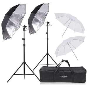 Kit de studio photo Andoer : 2 Trépied 75-200cm + 4 Parapluies 83cm (2 Blanc + 2 Noir/Argent) + 2 Supports type-B + Sac (Entrepôt Allemagne)