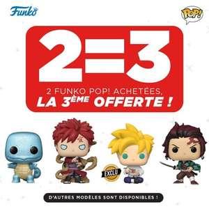 2 figurines Funko Pop! achetées parmi une sélection = la 3ème offerte (la moins chère)