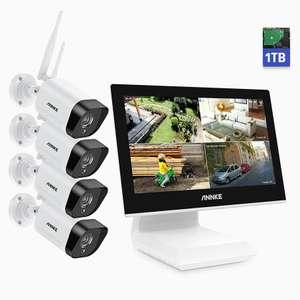 """Système de vidéosurveillance ANNKE WL200 - 4 Caméras WiFi (1080p, 2MP, IP66) + Écran LCD NVR 10,1"""" (4CH) + Disque dur 1 To"""