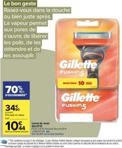 Paquet de 10 lames de rasoir Gillette Fusion 5, 12 lames Mach3 ou 10 lames Skinguard Aloe Vera (via 24.36€ sur la carte de fidélité)