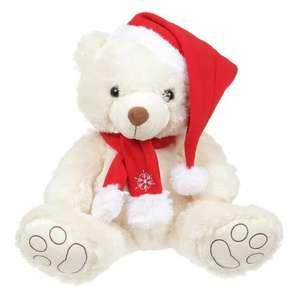 Peluche Ours de Noël - 38 cm, Blanc