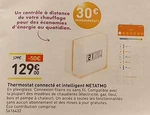 Thermostat connecté et intelligent filaire ou sans fil netatmo (via ODR de 30€)