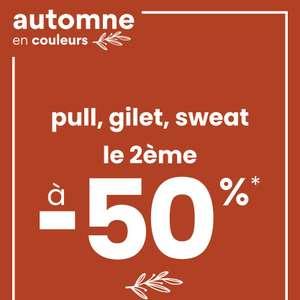1 gilet, pull ou sweat-shirt acheté parmi une sélection = 50% de réduction sur le 2ème (le moins cher)