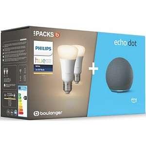 Assistant vocal Echo Dot 4 + 2 Ampoules connectées Philips Hue White E27 (+ 4.80€ en Rakuten Points) - Boulanger