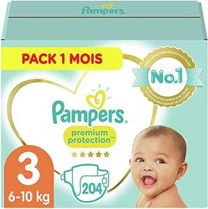 Pack 1 mois Couches Pampers Premium Protection - Taille 3 (6-10kg)