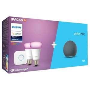 Pack de démarrage Philips Hue/Amazon: 2 Ampoules White & Colors + Pont + Assistant vocal Echo Dot 4 (+ 14.69€ en Rakuten Points) - Boulanger