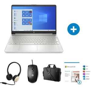 """Pack PC Portable 15.6"""" HP 15s-eq1101nf - Ryzen 5 4500U, RAM 8 Go, 512 Go SSD, W10 + Souris + Casque + Sacoche + Microsoft 365 (Via ODR 75€)"""