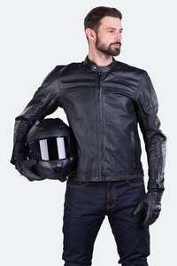 Blouson Moto en cuir Beemer - Noir, Du S au 2XL