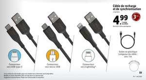 Cable de recharge et de synchronisation - Différents modèles au choix: USB-C/USB-A/Lightning vers USB-A