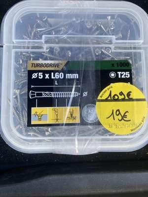 1000 Vis inox A2 Turbodrive 5x60mm T25 - Dardilly (69)