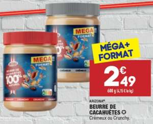Beurre de cacahuètes crémeux ou crunchy - Format Mega (600g)