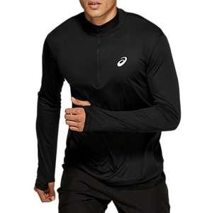 T-shirt à manches longues Homme Asics Silver LS 1/2 Zip Top - Noir, Tailles au choix