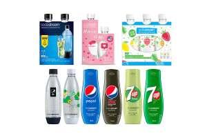Ensemble bouteilles et concentrés SodaStream : 8 Bouteilles 1L + 1 Bouteille 0.5L + 4 Concentrés 440 mL