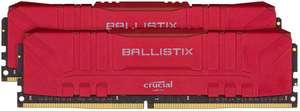 Kit mémoire RAM Crucial Ballistix 16 Go (2 x 8 Go) - DDR4, 3000 MHz, CL15, Rouge (BL2K8G30C15U4R)