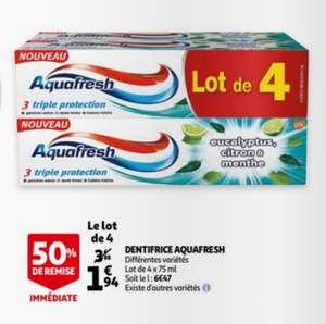 Lot de 4 tubes de dentifrice Aquafresh - Différentes variétés, 4x 75ml