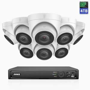 Système de surveillance ANNKE H800 PoE 8CH - 8 Caméra 4K 8MP IP67 + Enregistreur vidéo NVR + Disque dur 4 To + Accessoires