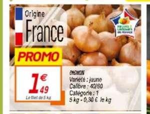 Filet d'oignons jaunes - Catégorie 1, Origine France (5 kg)