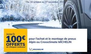 Jusqu'à 100€ offerts en chèques cadeaux wedoogift pour l'achat & montage de 2 (ou 4) pneus Michelin Hiver Alpin ou 4 Saisons Crossclimate
