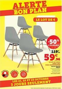 Lot de 4 chaises Tehila - Blanc, Gris ou Noir