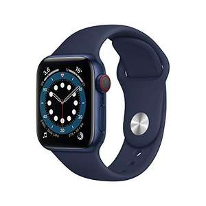 Montre connectée Apple Watch Series 6 (GPS + Cellular, 40 mm) - Boîtier en Aluminium Bleu, Bracelet Sport Marine Intense
