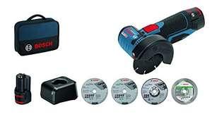 Meuleuse d'angle sans fil Bosch Professional GWS 12V-76 - avec 2 Batteries 12V 2,0 Ah + chargeur + 5 disques + 1 Sacoche
