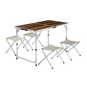 Table pliante de camping - 122 cm x 62 cm x 71 cm + 4 Tabourets en Aluminium Marron