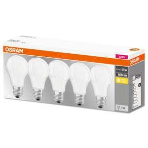 Lot de 5 ampoules LED Osram Base Classic 60 - E27, 8.5W équivalence 60W (classe F)