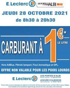 Carburant à 1€ le litre (hors Adblue et E85) avec remboursement de la différence en bons d'achat sans minimum d'achat - Albi & Gaillac (81)