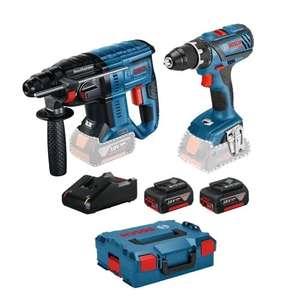 Pack Bosch : Perceuse-visseuse sans fil GSR 18V-28 + Perforateur sans fil 18V-21 + 2 Batteries GBA 18V / 4Ah + Chargeur GAL 18V-40 + L-Boxx