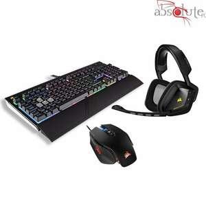 Pack Corsair Gaming - Casque Sans-fil Void Wireless Dolby 7.1 RGB Carbon + Souris M65 PRO RGB FPS  Noir+ Clavier Gaming Strafe RGB Cherry MX Red