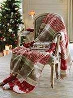 Collier fantaisie + 1 Plaid de Noël + Lot de 6 Décorations de Noël en Bois