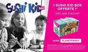 SushiKid box offerte dès 40€ de commande (en livraison et à emporter)