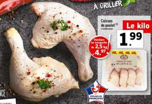 Barquette de Cuisse de poulet - 2.5Kg